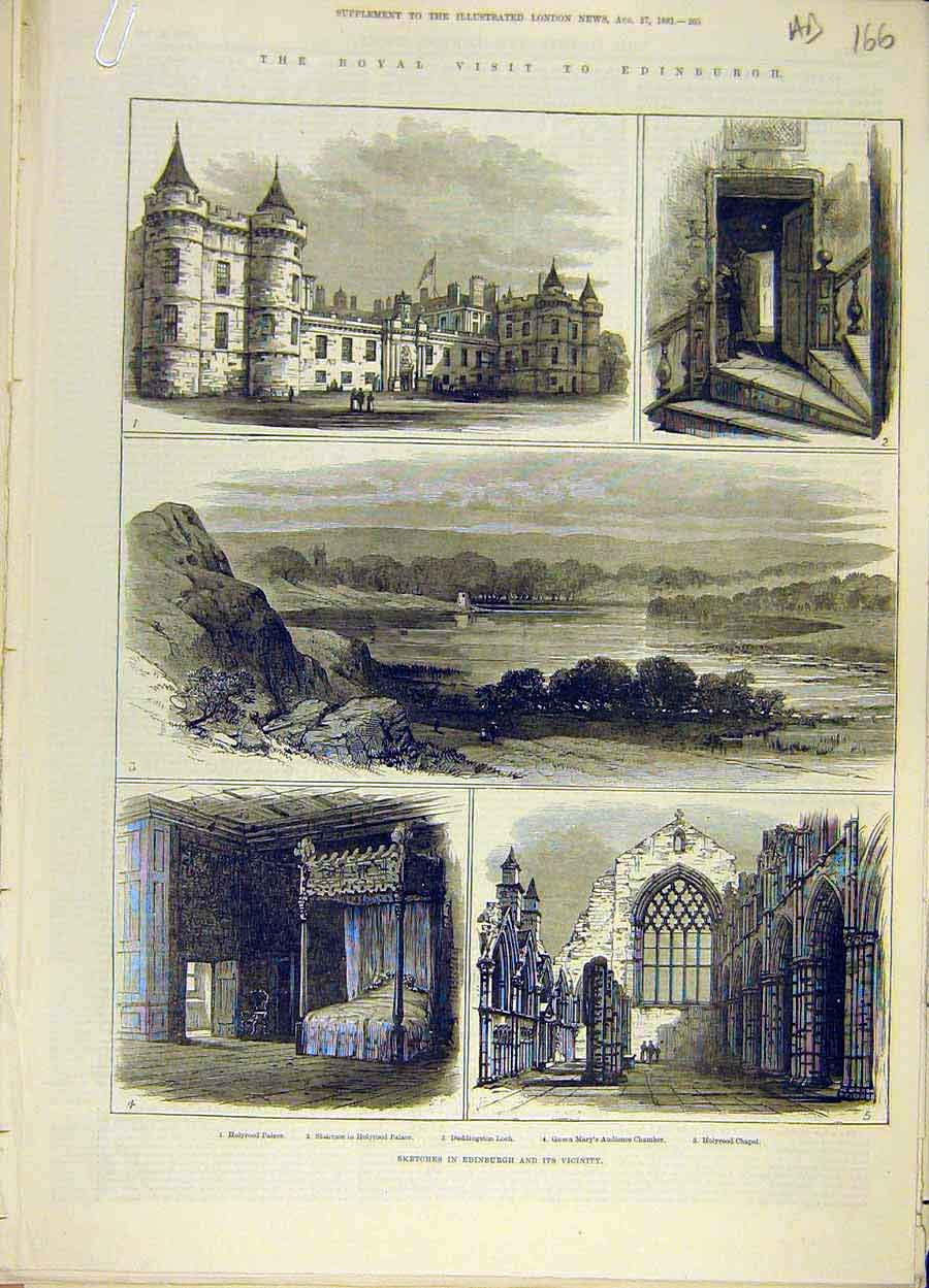 Print 1881 Edinburgh Royal Visit Sketches Castle Chapel 66A8061 Old Original