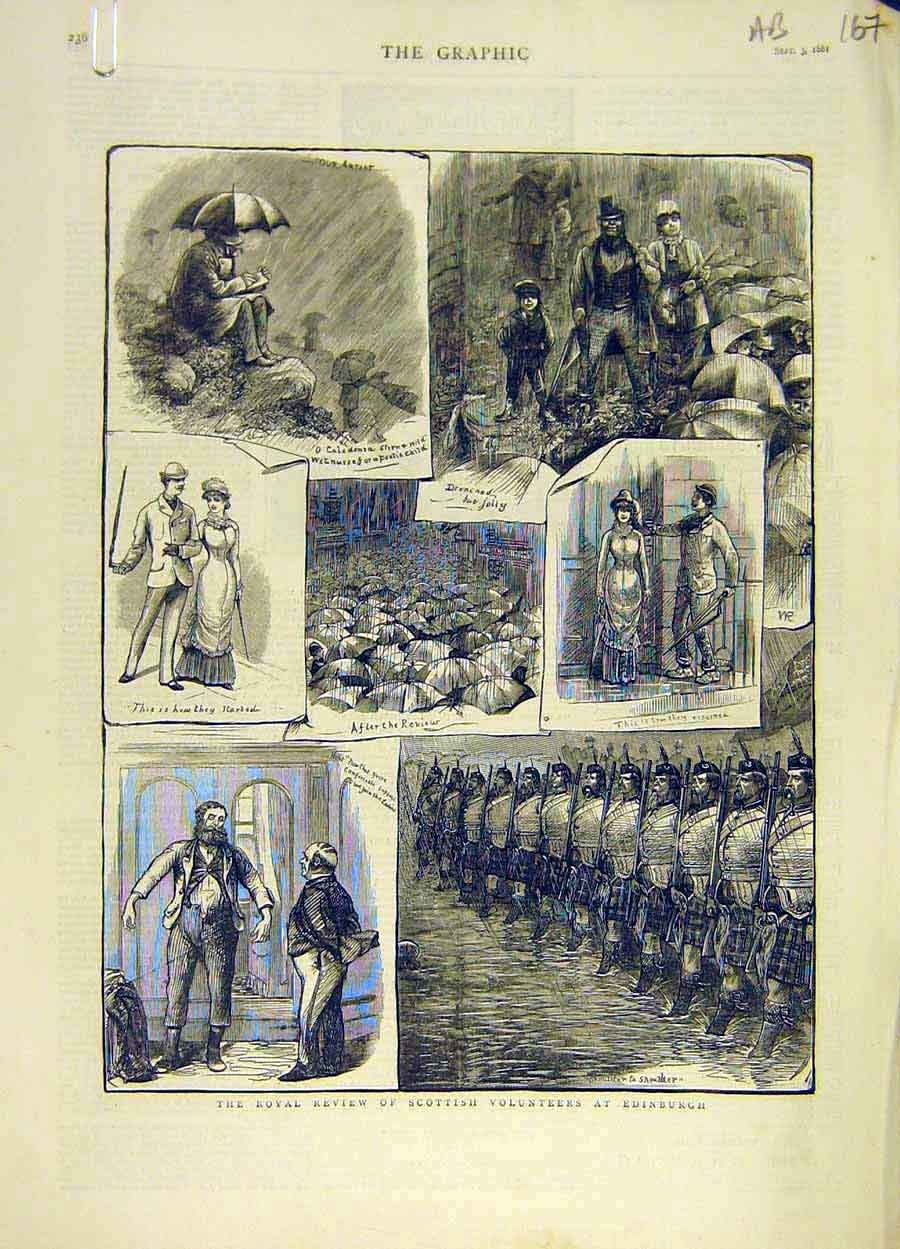 Print 1881 Royal Scottish Volunteers Edinburgh Holyrood Queen 67A8061 Old Original