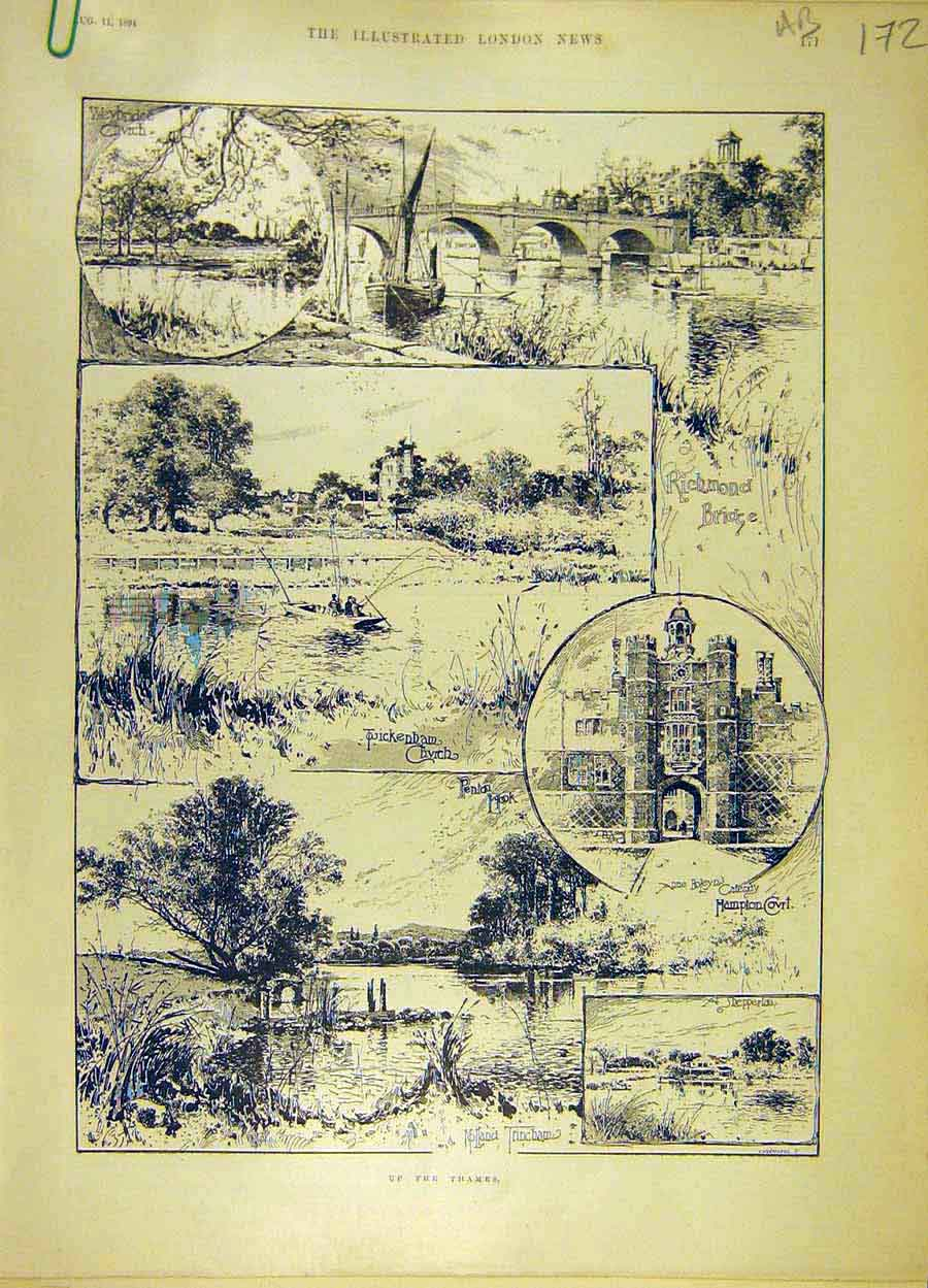 Print 1894 Thames River Sketches Hampton Richmond Mill 72A8061 Old Original