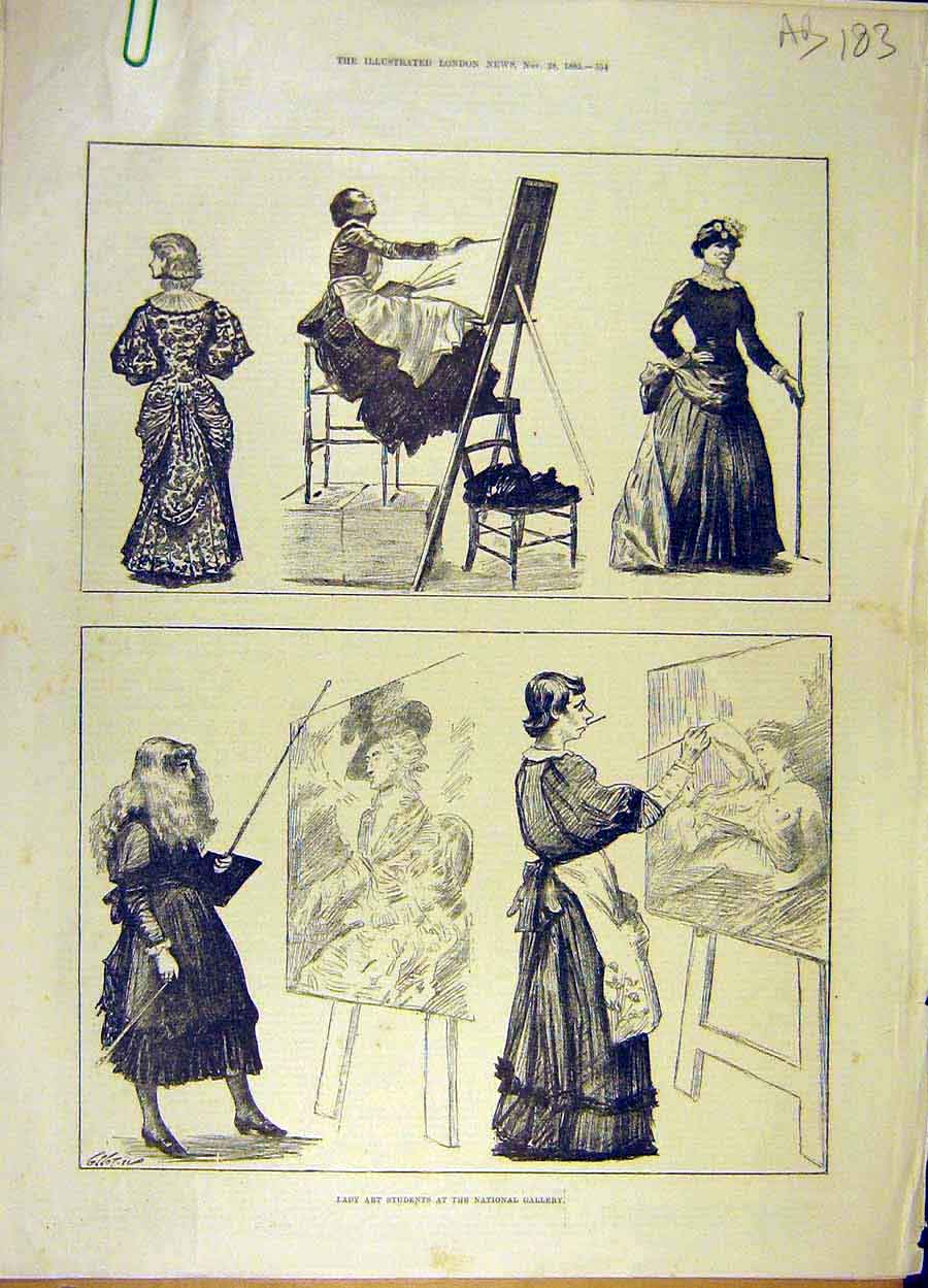 Print 1885 Lady Art-Students National Gallery Portrait 83A8061 Old Original