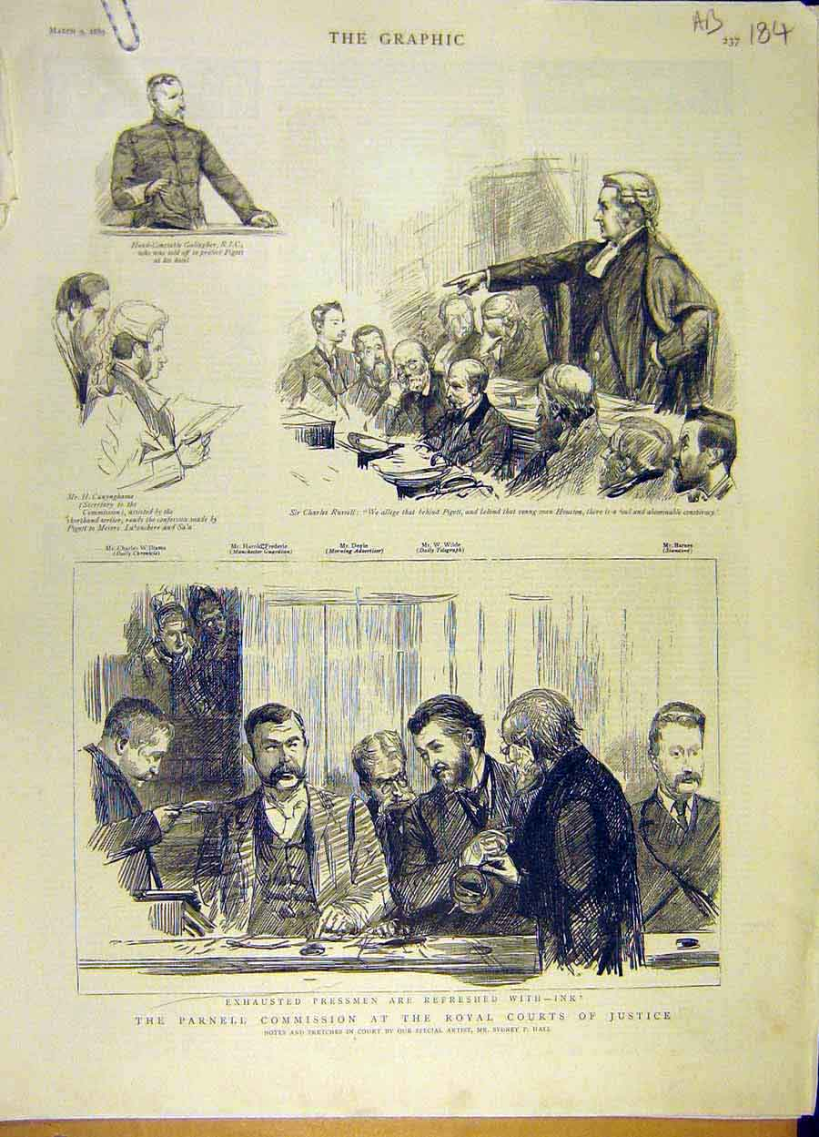 Print 1889 Parnell Commission Royal Court Justice Biggar 84A8061 Old Original