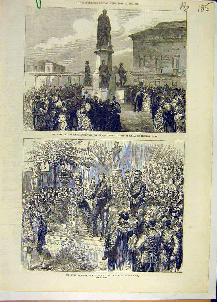 Print 1872 Duke Edinburgh Dublin Exhibition Leinster Prince 85A8061 Old Original