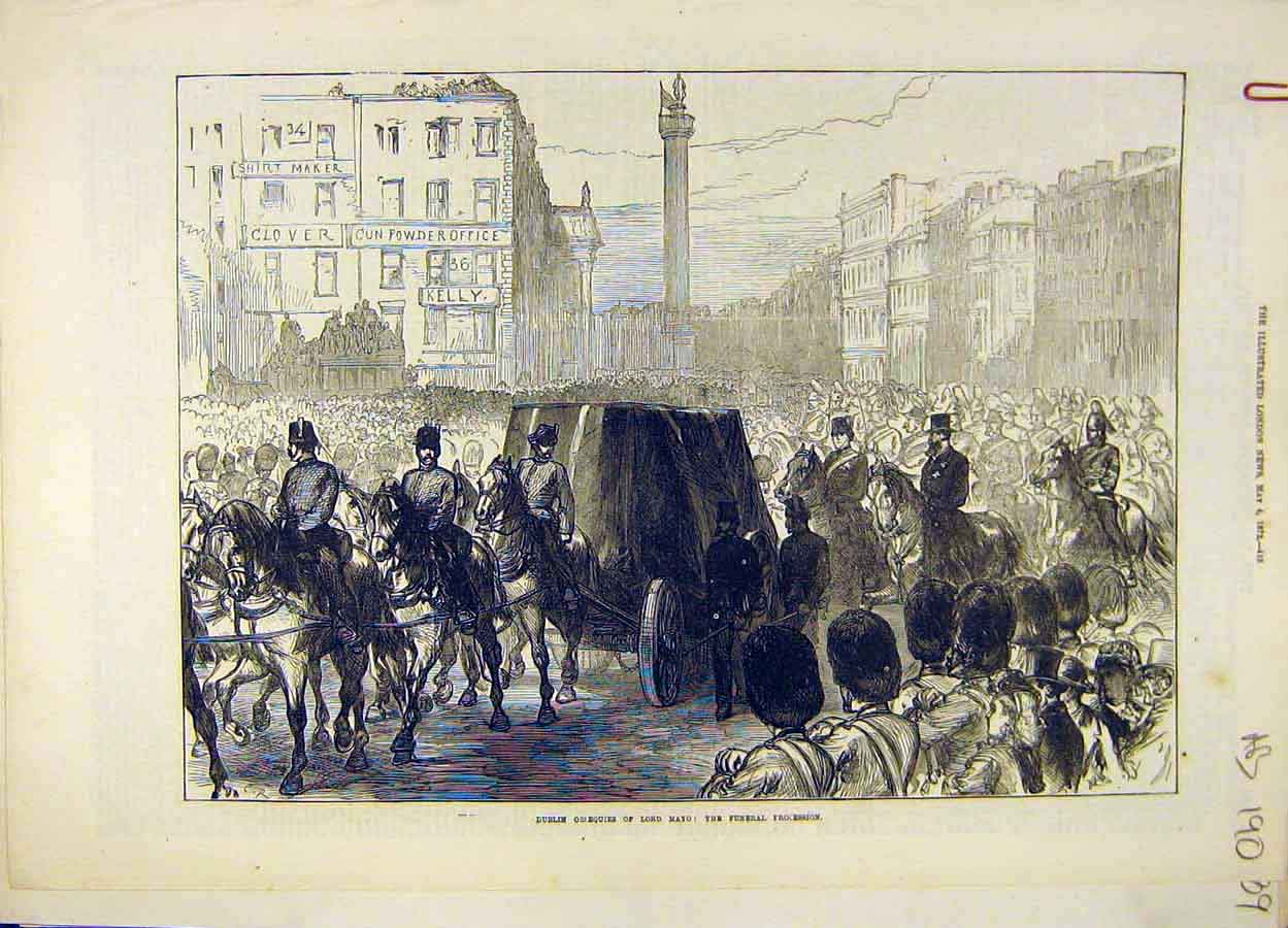 Print 1872 Dublin Lord Mayo Funeral Procession Coffin Ireland 90A8061 Old Original