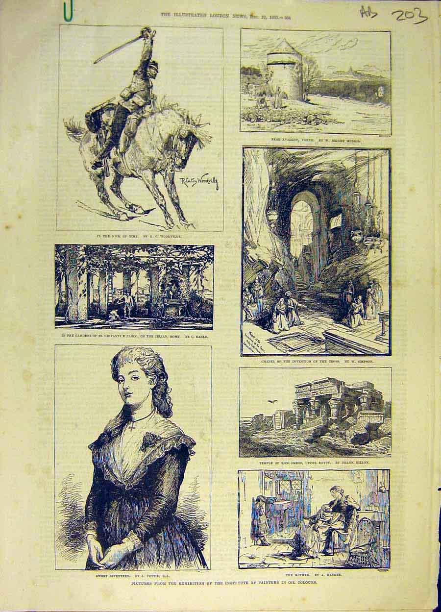 [Print 1883 Painters Pictures Oil Artists Exhbition Art 03A8061 Old Original]