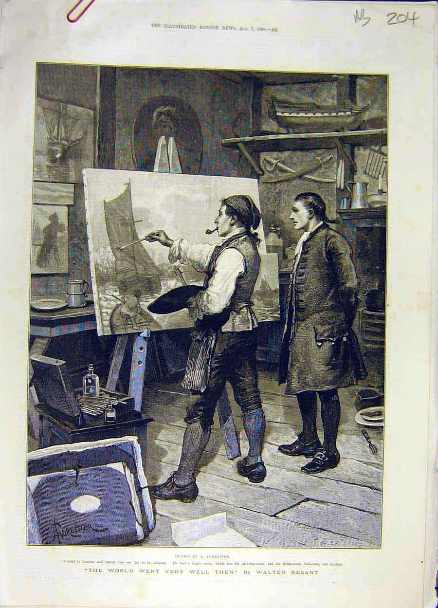Print 1886 Forestier Besant Art Picture Painting 04A8061 Old Original
