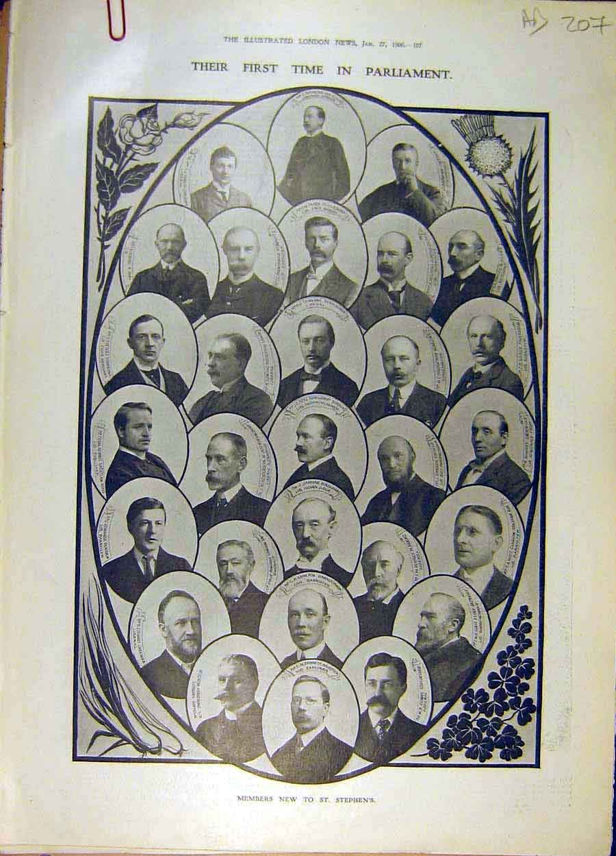 Print 1906 Parliament Portraits Members St. Stephen'S 07A8061 Old Original
