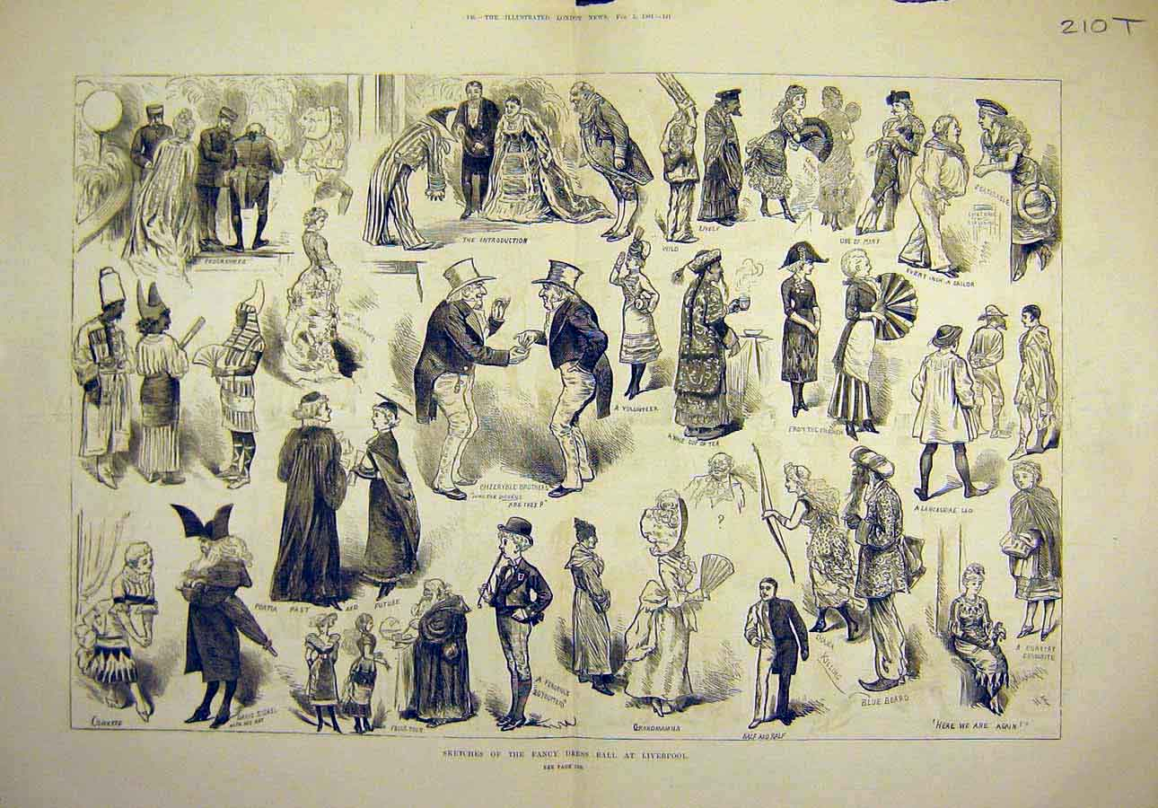 Print 1881 Sketches Fancy-Dress Ball Liverpool People 10T8061 Old Original