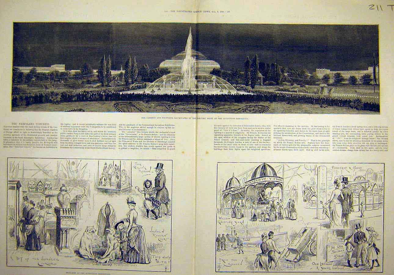 Print 1885 Inventions Exhibition Gardens Fountains Electric 11T8061 Old Original