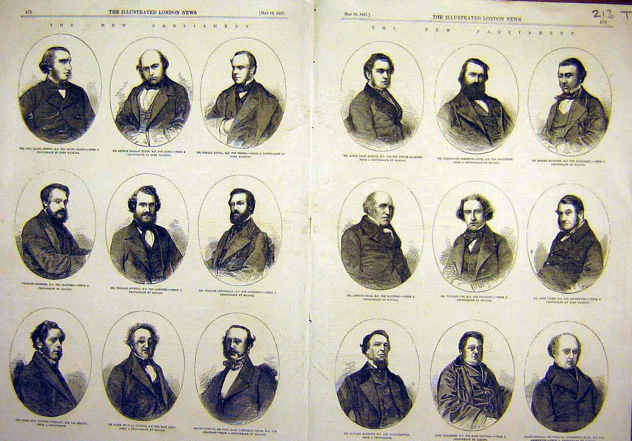 Print 1857 New-Parliament Portraits Ministers Men 13T8061 Old Original