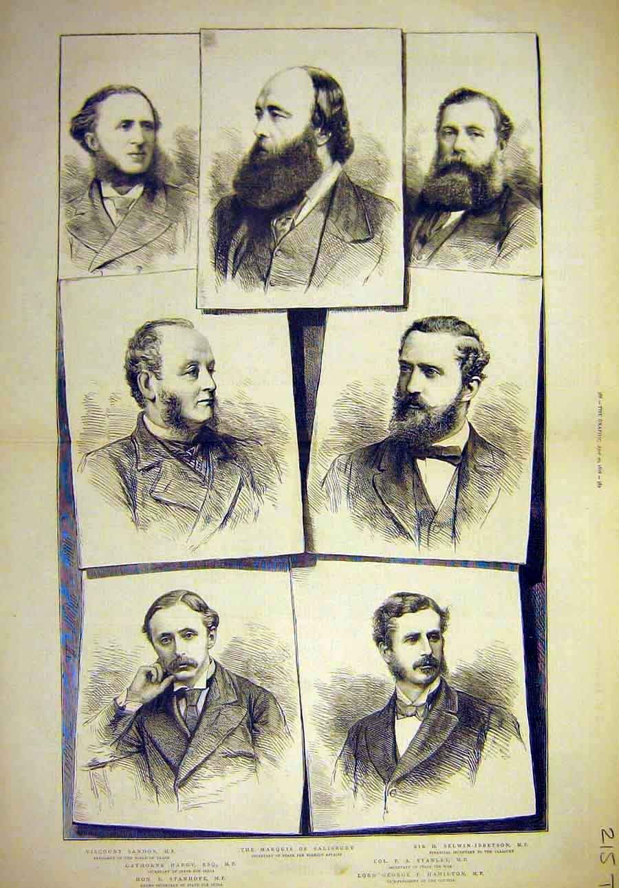 Print 1878 Minister Portraits Stanley Salisbury Hardy Men 15T8061 Old Original