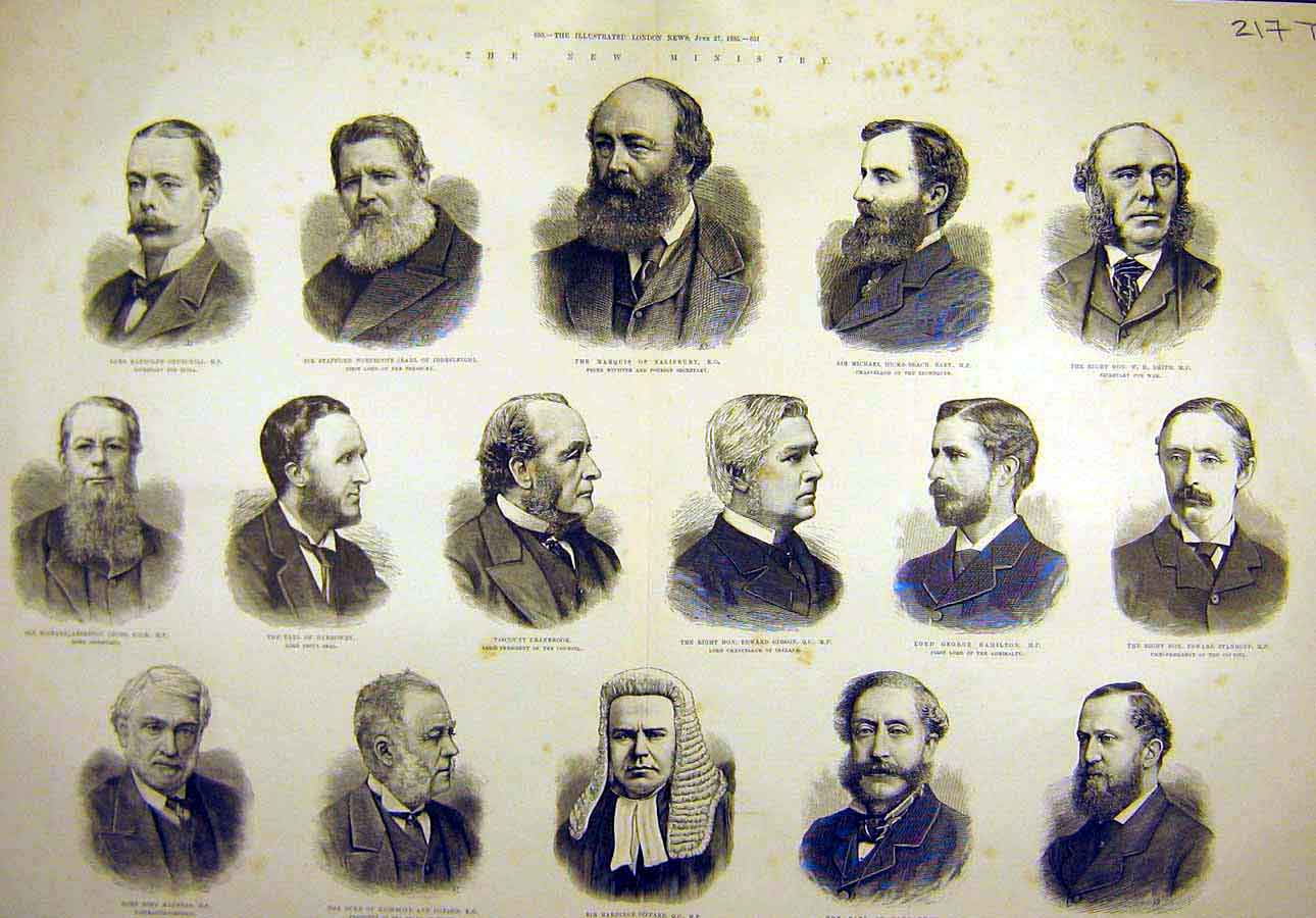 Print 1885 Ministers Parliament Portraits Government Men 17T8061 Old Original