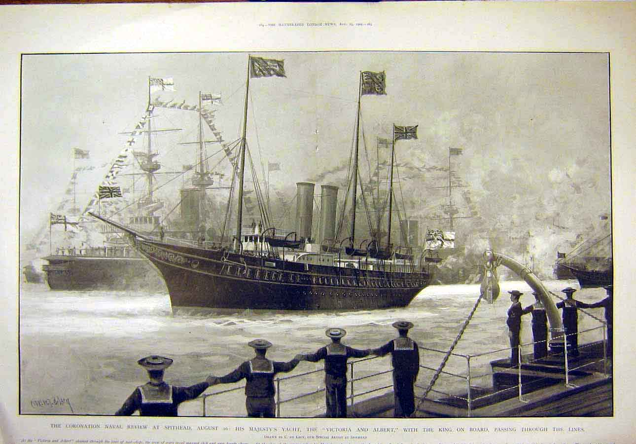 Print 1902 Coronation Naval Review Spithead Royal Yacht Lacy 01T8071 Old Original