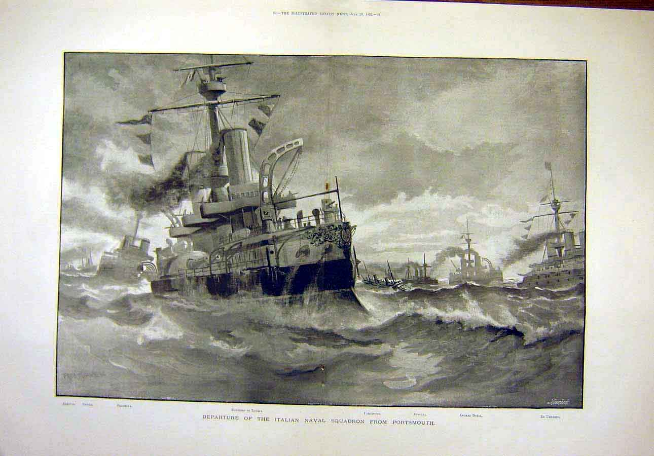 Print 1895 Italian Naval Squadron Portsmouth 02T8071 Old Original