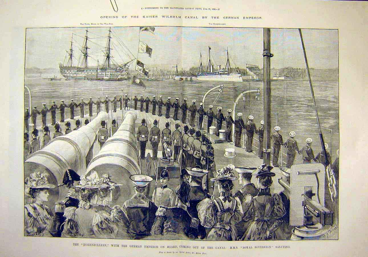 Print 1895 German Emperor Hohenzollern Hms Royal Sovereign 03T8071 Old Original