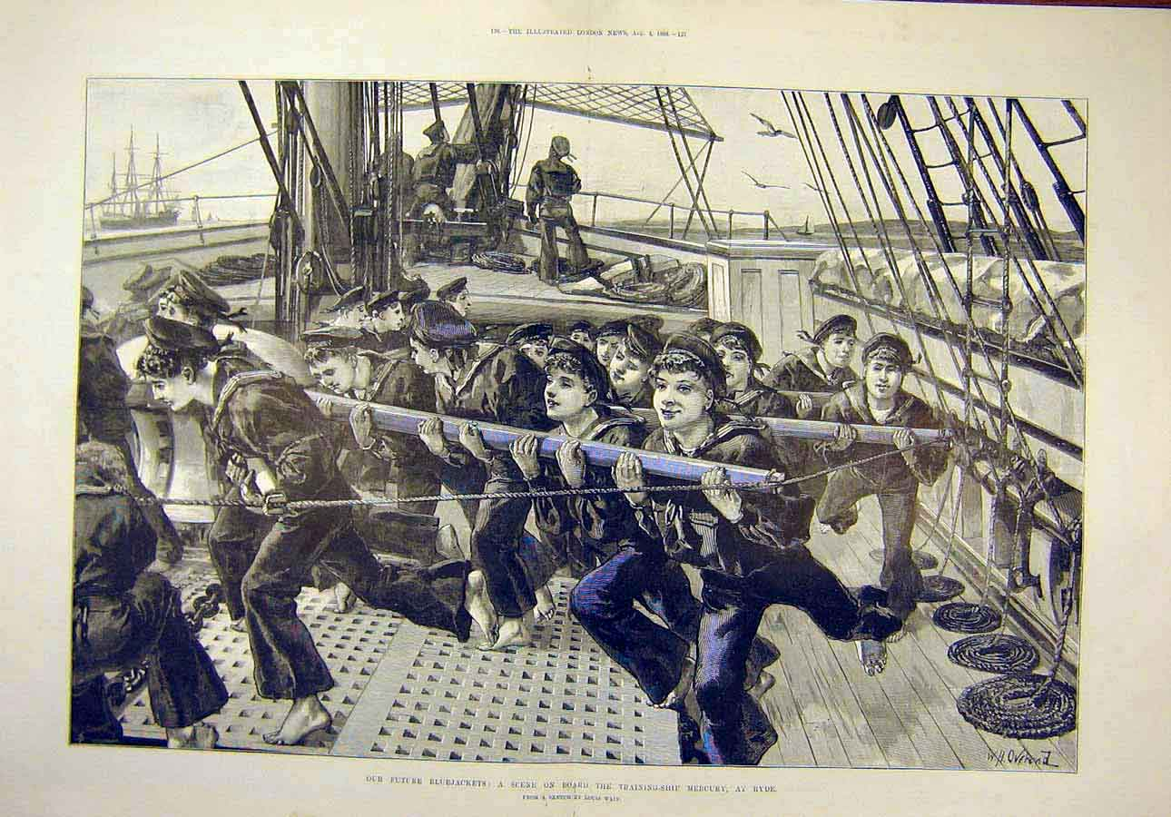 Print 1888 Bluejackets Training-Ship Mercury Ryde Wain 05T8071 Old Original