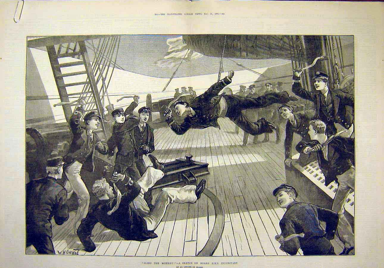 Print 1882 Sling-The-Monkey Sketch Hms Inconstant Sailors 11T8071 Old Original