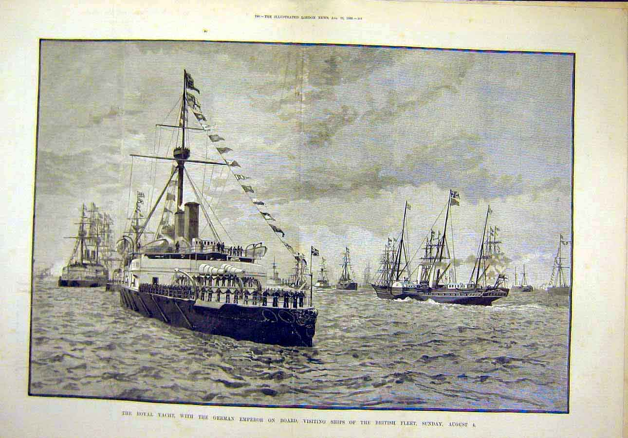 Print 1889 Royal Yacht German Emperor British Fleet Ships 13T8071 Old Original