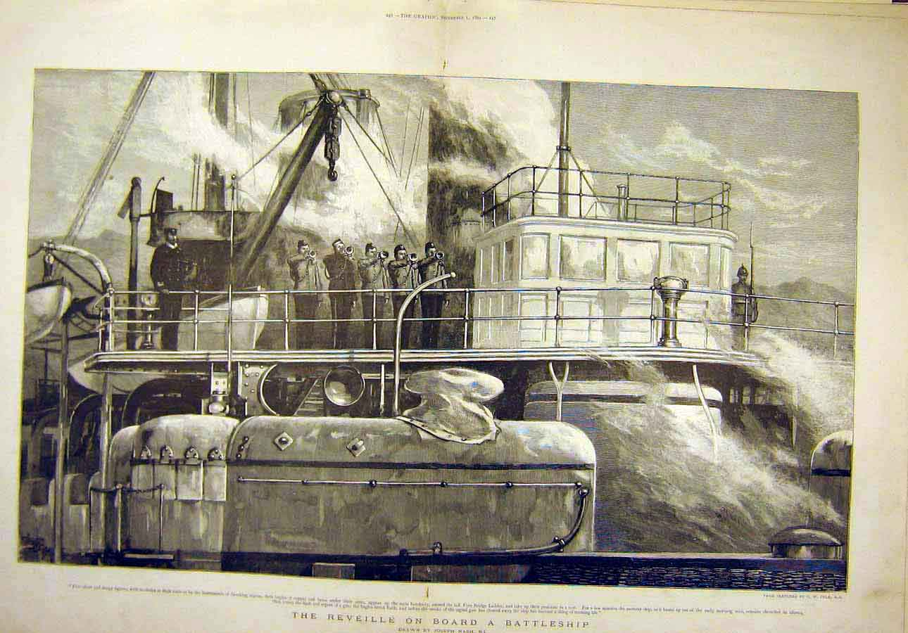 Print 1894 Reveille Battleship Nash Navy 23T8071 Old Original