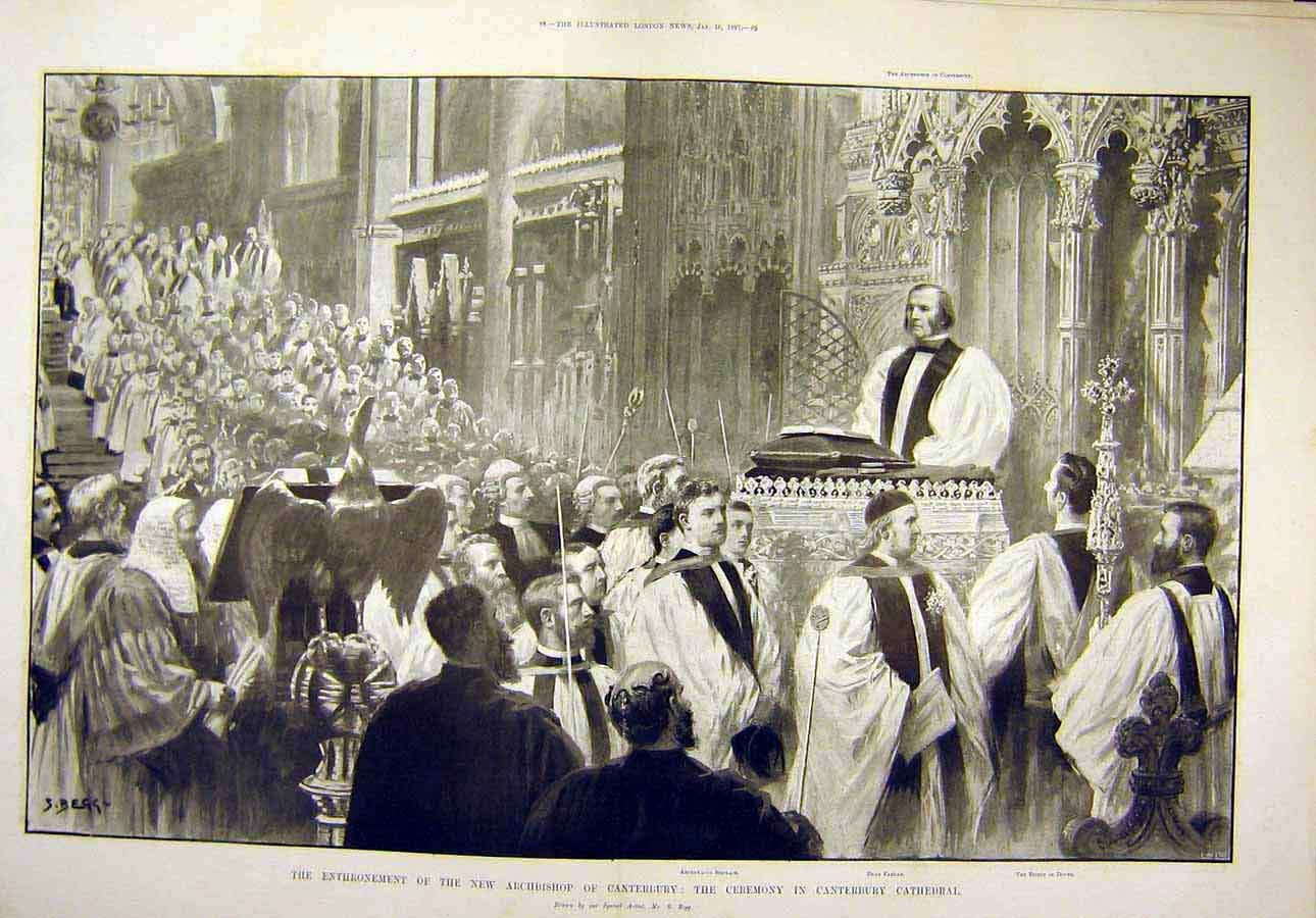 Print 1897 Archbishop Canterbury Ceremony Cathedral 27T8071 Old Original