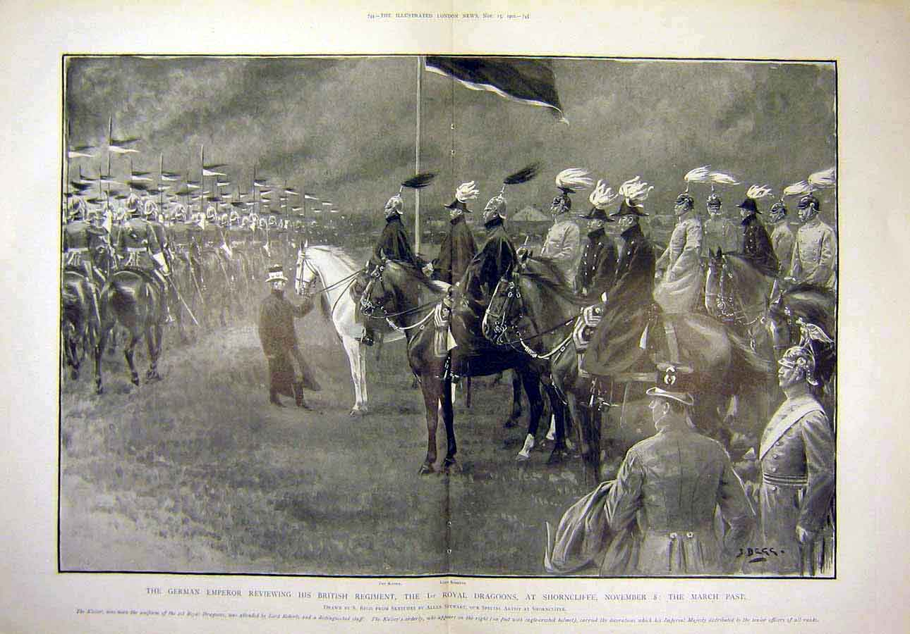 Print 1902 German Emperor Royal Dragoons Shorncliffe 28T8071 Old Original