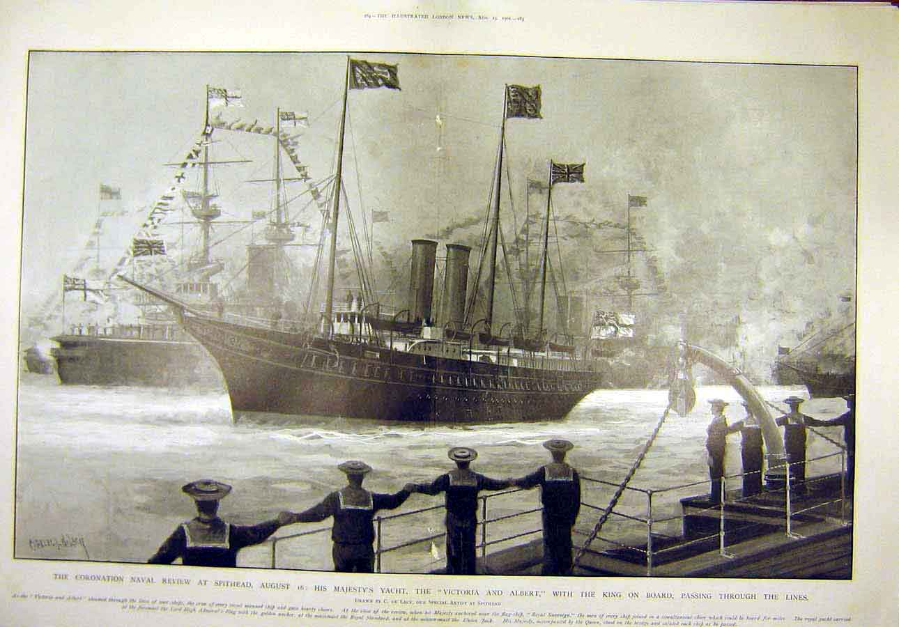Print 1902 Coronation Naval Review Spithead Royal Yacht Ships 45T8071 Old Original