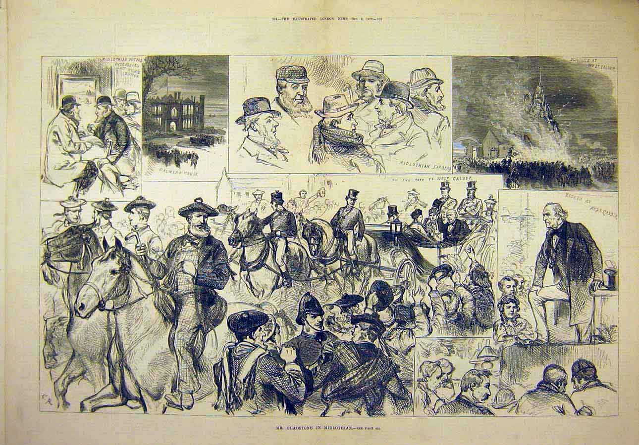 Print 1879 Mid-Lothian Gladstone Sketches Farmers People 59T8071 Old Original