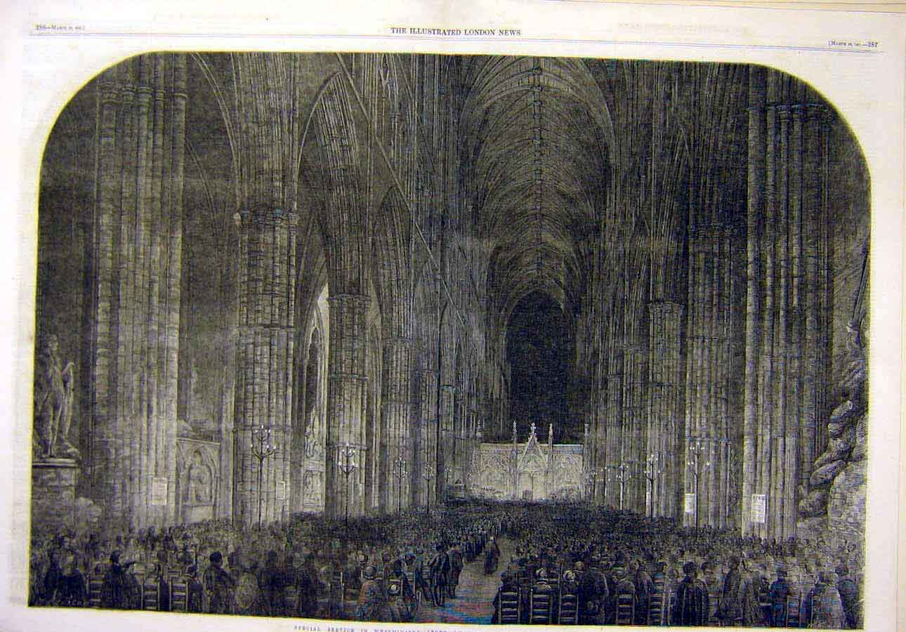 Print 1861 Westminster Abbey Special-Service Building Church 68T8071 Old Original