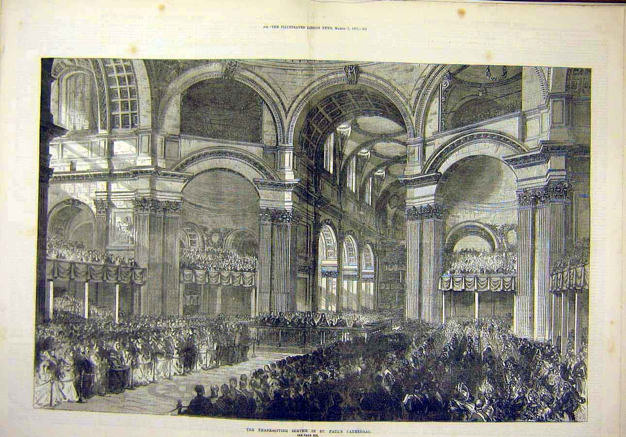 Print 1872Thanksgiving-Service St. Paul'S Cathedral Religious 72T8071 Old Original
