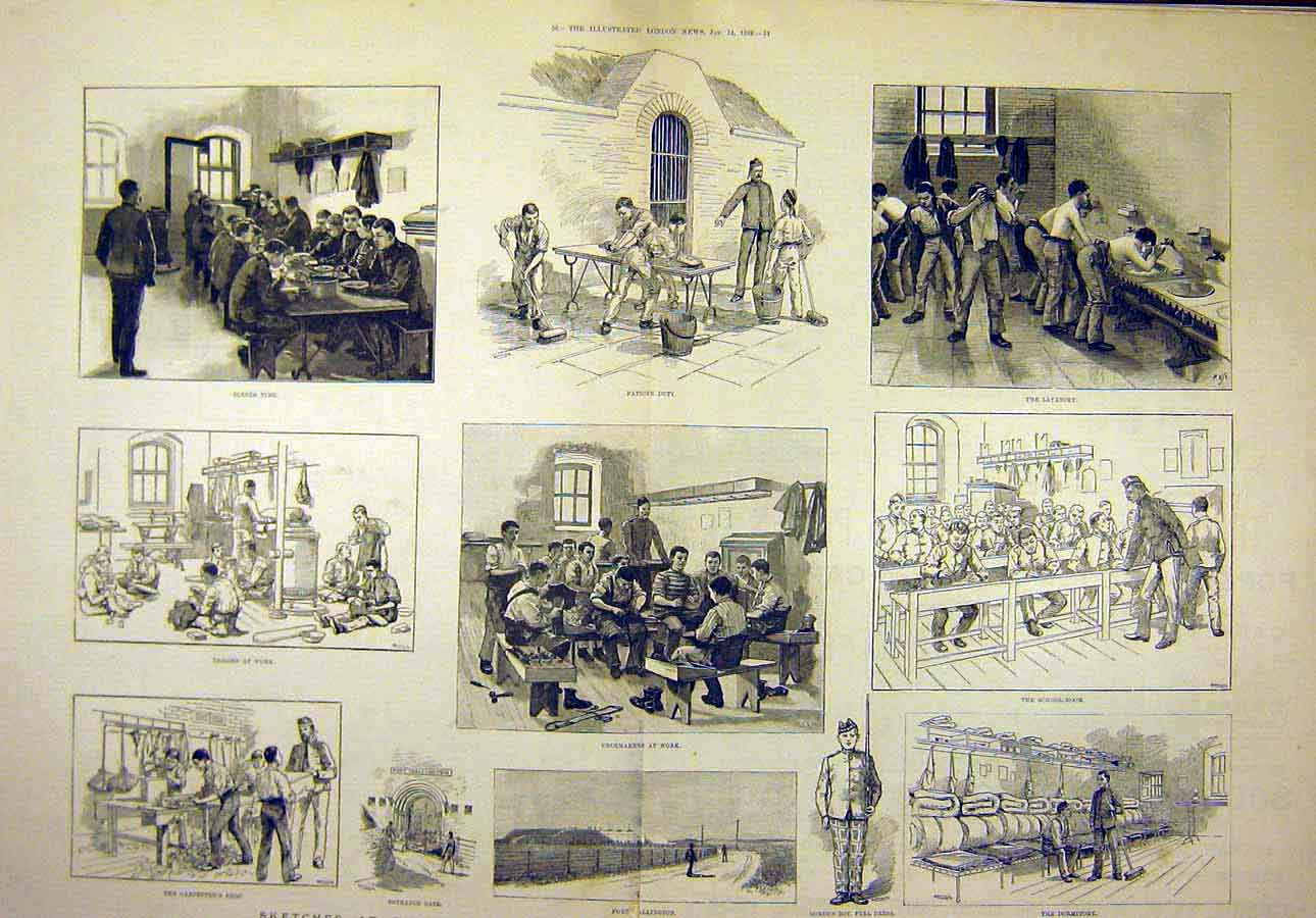 Print 1888 Gordon Memorial Fort Wallington Portsmouth Boys 74T8071 Old Original