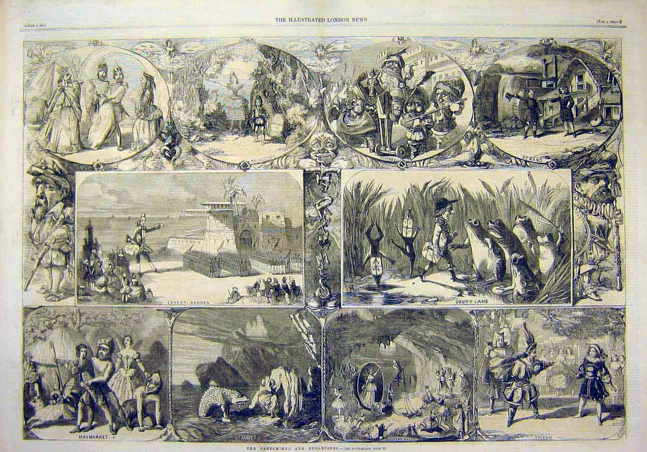 Print 1862 Pantomimes Burlesques Theatre Sketches 87T8071 Old Original