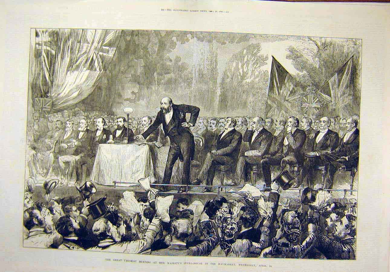 Print 1886 Opera-House Haymarket Unionist Meeting 95T8071 Old Original
