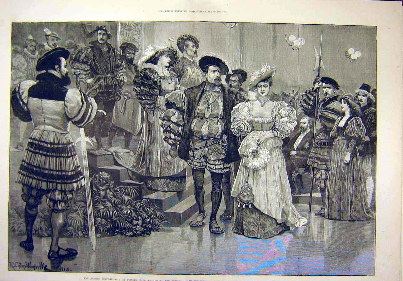 Print 1885 Artist'S Costume Ball Piccadilly Prince Wales 12T8071 Old Original