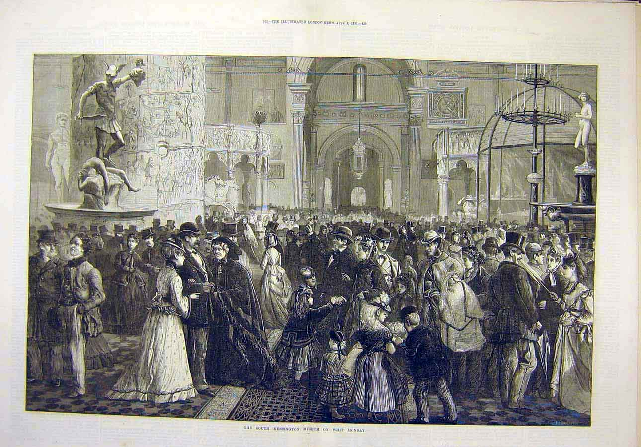 Print 1871 South-Kensington Museum Whit-Monday People 15T8071 Old Original