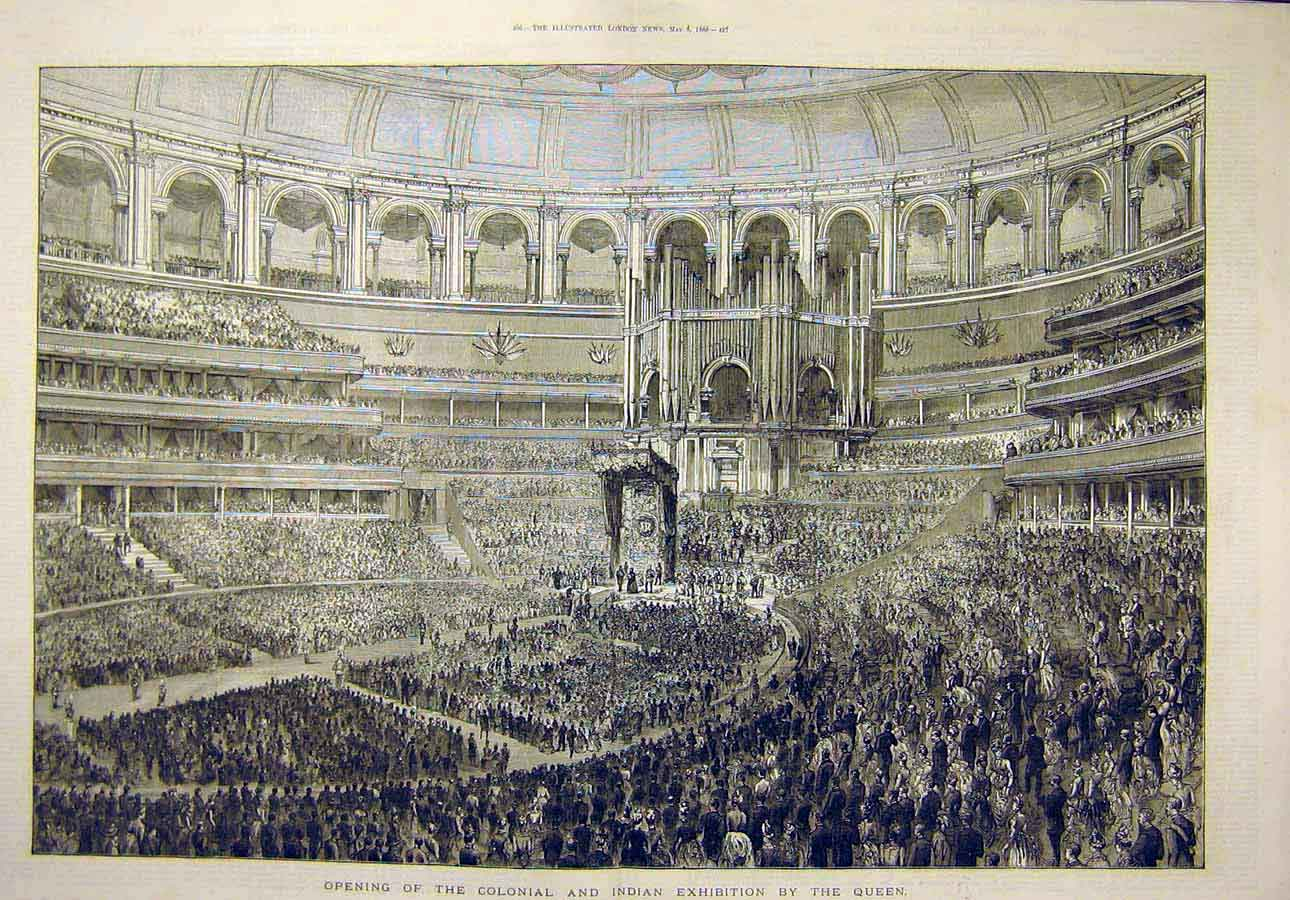 Print 1886 Colonial Indian Exhibition Queen Opening Building 16T8071 Old Original