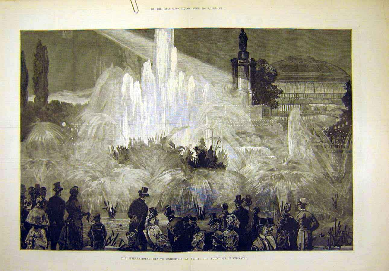 Print 1884 Interantional Health Exhibition Fountains 20T8071 Old Original