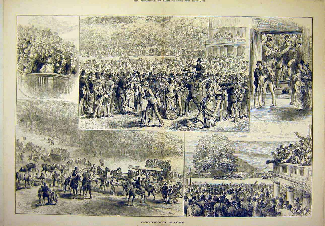 Print 1877 Goodwood Races Sketches People Places 25T8071 Old Original
