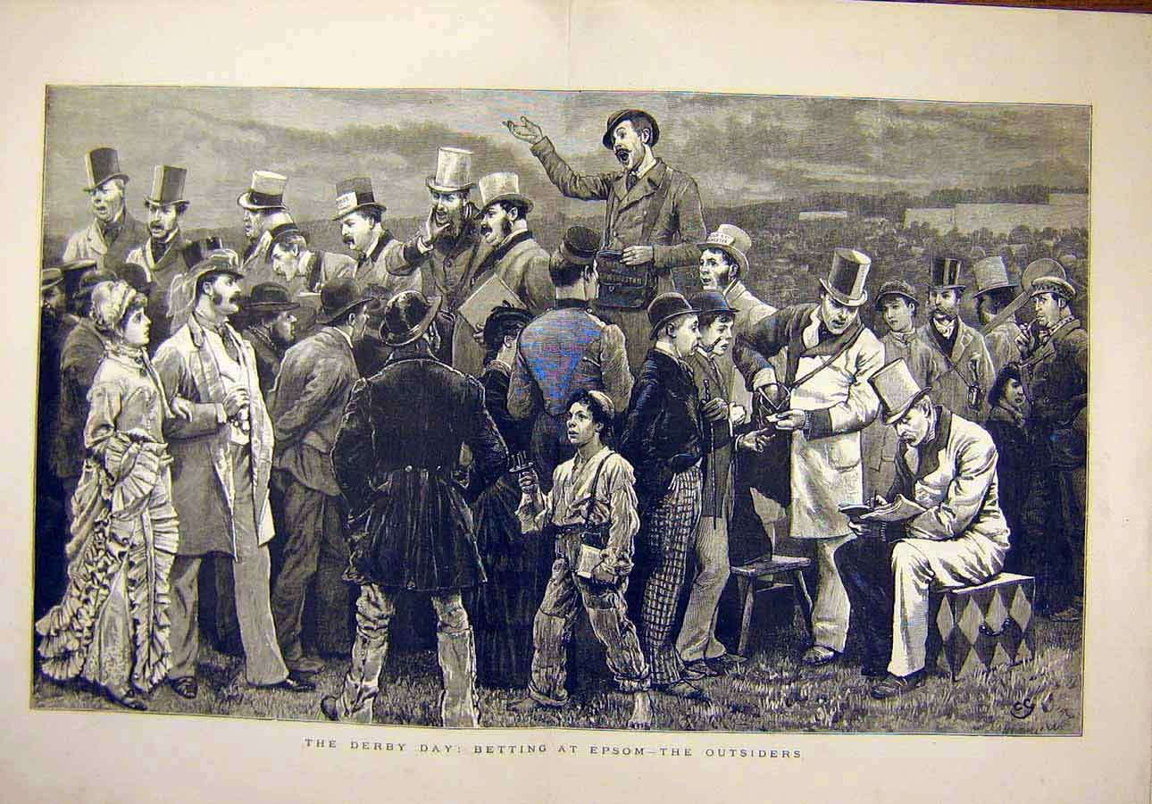 Print 1879 Derby Day Betting Epsom Horse-Races Outsiders 27T8071 Old Original
