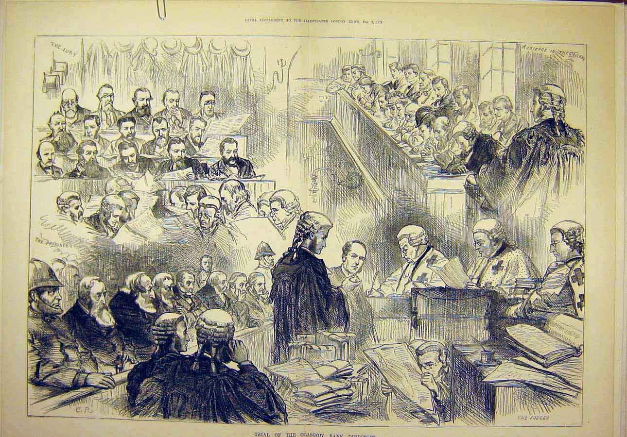 Print 1879 Trial Glasgow Bank Directors Sketches Court 30T8071 Old Original