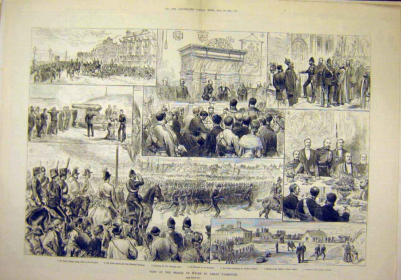 Print 1882 Prince Wales Great-Yarmouth Visit Sketches People 33T8071 Old Original