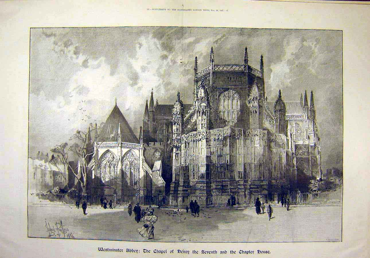 Print 1897 Westminster Abbey Chapel Henry-Seventh Chapter 36T8071 Old Original