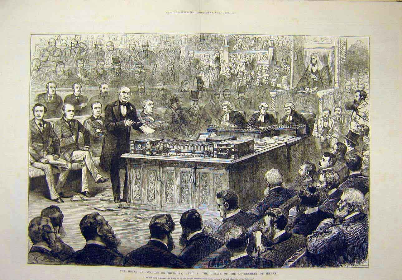 Print 1886 House Commons Debate Government Ireland 39T8071 Old Original