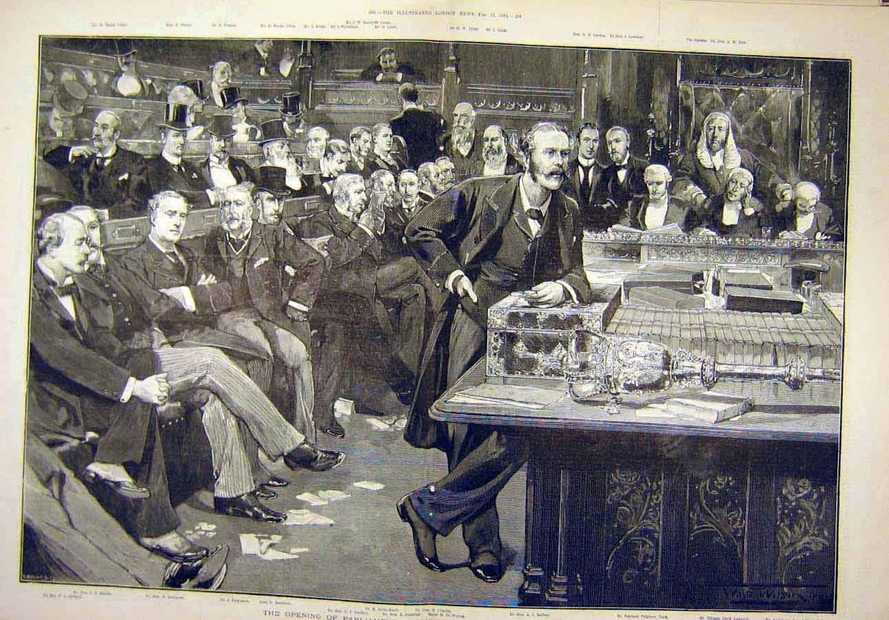 Print 1892 Parliament Opening Treasury Bench People 40T8071 Old Original