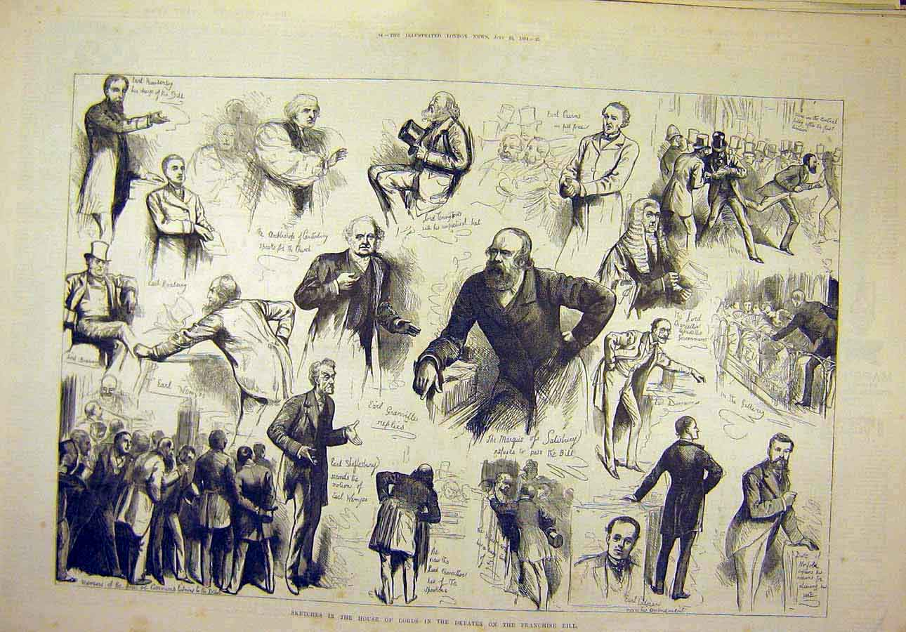 Print 1884 House Lords Sketches Debates Franchise Bill 41T8071 Old Original