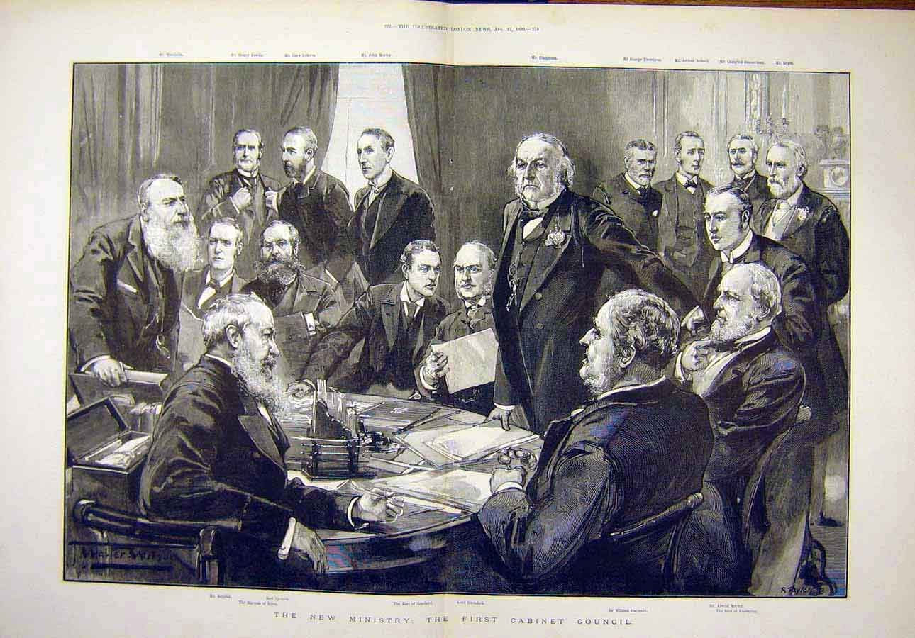 Print 1892 New-Ministry First Cabinet Council Group Portrait 57T8071 Old Original