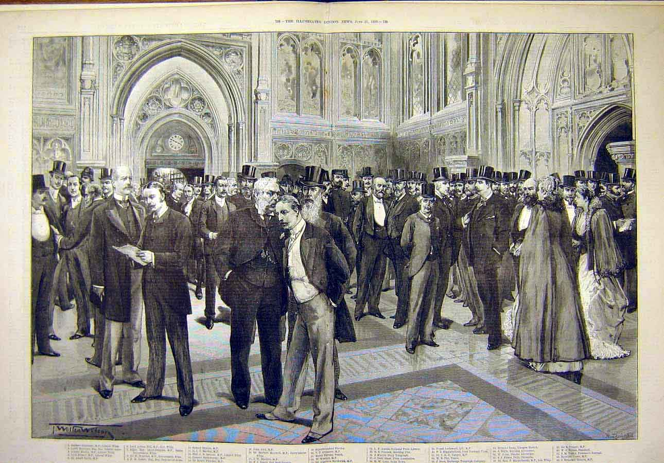 Print 1892 Lobby House Commons Group Portrait Sketch 58T8071 Old Original