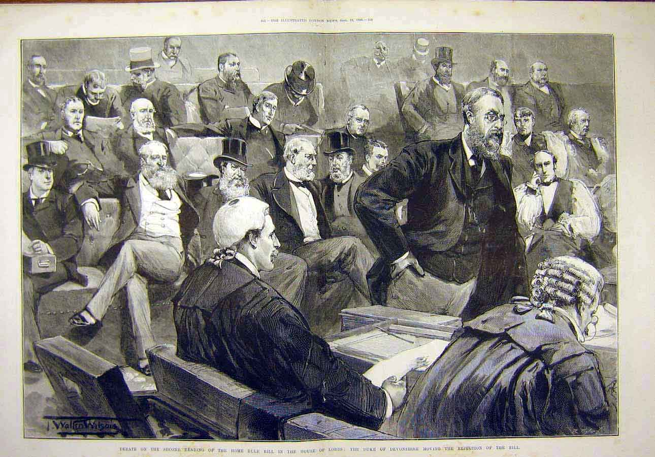 Print 1893 Debate Home Rule House Lords Duke Devonshire Bill 60T8071 Old Original