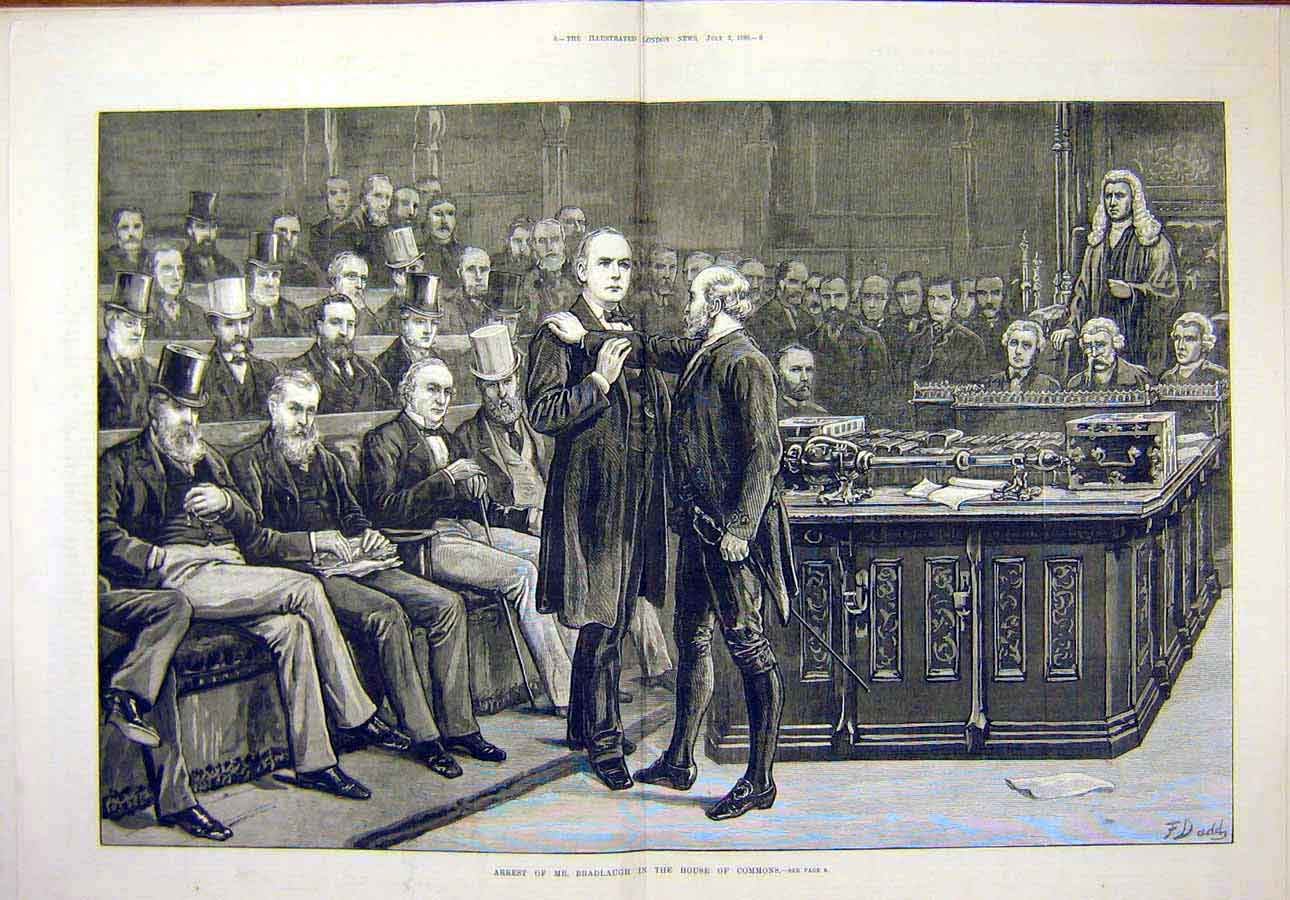 Print 1880 Arrest Bradlaugh House Commons 61T8071 Old Original