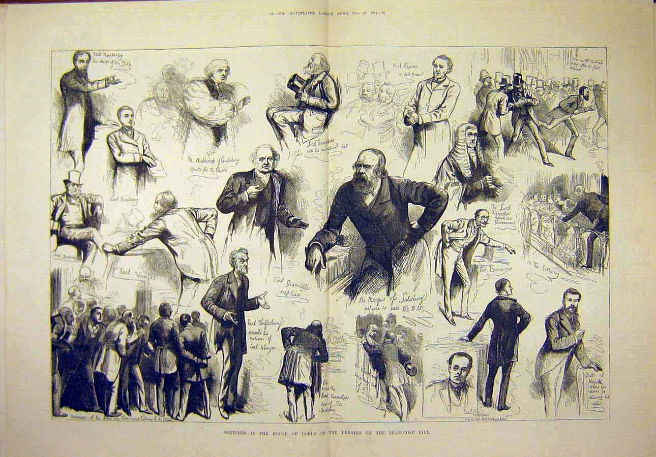 Print 1884 Sketches House Lords Debates Franchise Bill 62T8071 Old Original