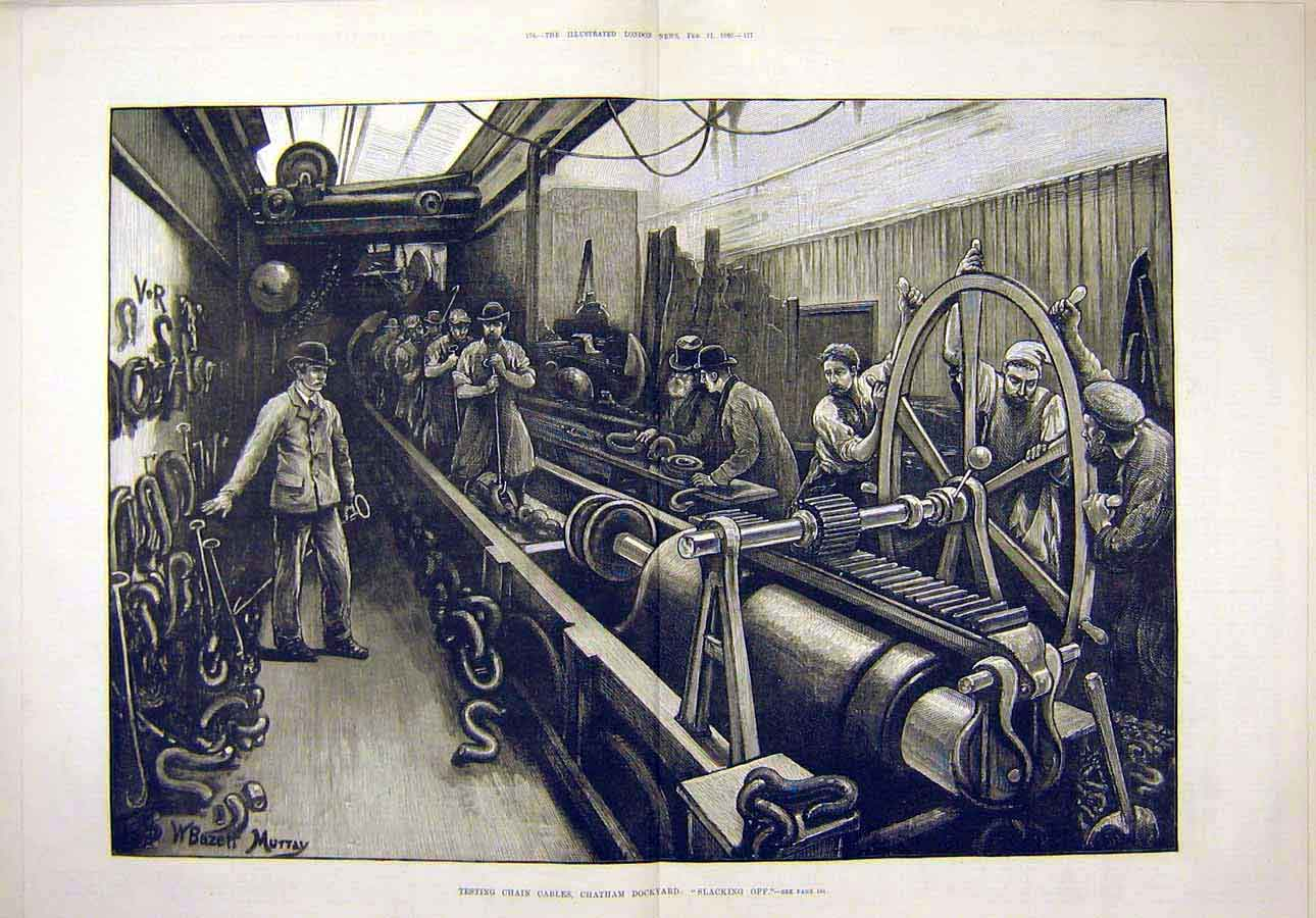 Print 1880 Test Chain Cables Chatham Docks Slacking-Off 66T8071 Old Original