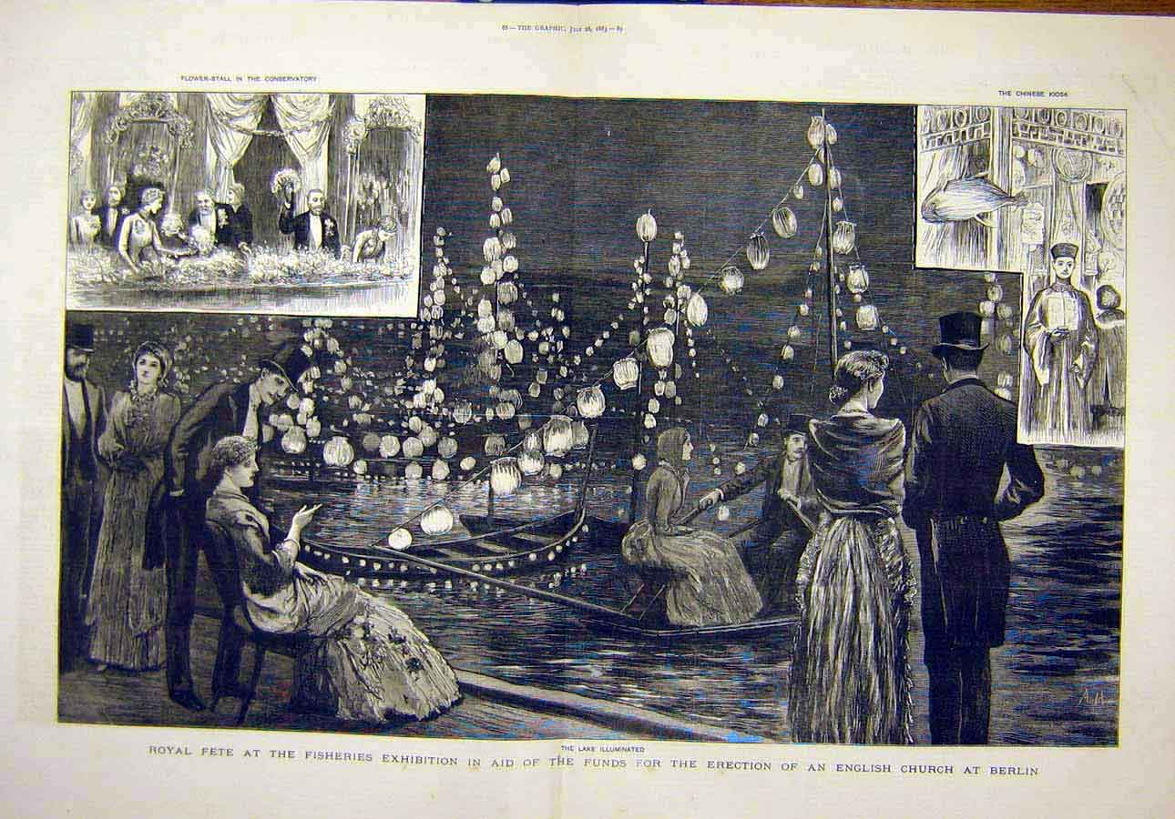 Print 1883 Royal Fete Fisheries Exhibition Church Berlin 70T8071 Old Original